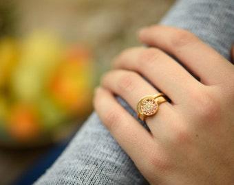 Wedding rings set, yellow gold diamond engagement ring, pink sapphire engagement ring women, halo engagement ring, recycled gold ring