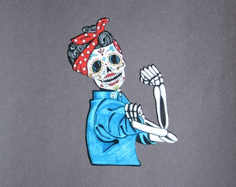 Day of Dead Rosie vinyl car sticker # 130