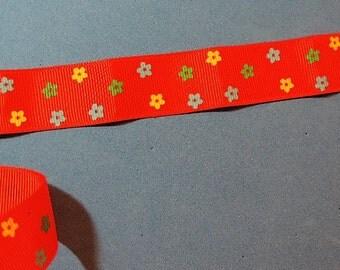 Red flower print ribbon - 5 yards