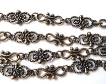Antique Bronze Chain ,Butterfly Link Chain,  Hammered Sold by the Foot Commercial