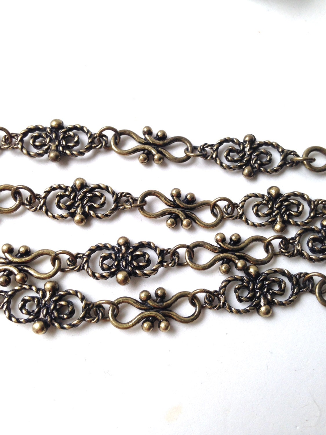 Antique Bronze Chain Butterfly Link Chain Hammered Sold By