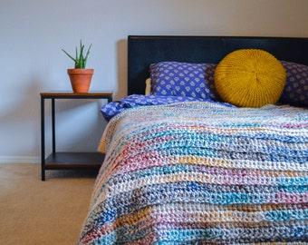 crochet throw chunky cozy yarn 50x60 inches afghan blanket bedding wool