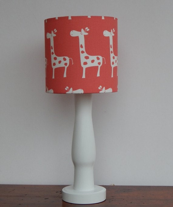 small giraffe drum lamp shade coral red with white giraffes. Black Bedroom Furniture Sets. Home Design Ideas