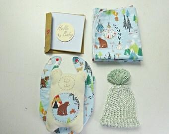 Camping Bear print baby shower gift // baby shower card // new baby gift // teddy bear softie // baby beanie // bib and burp cloth set
