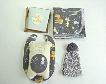 Zoo animal print baby shower gift // baby shower card // new baby gift // teddy bear softie // baby beanie // bib and burp cloth set