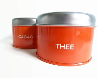 Set of Two Retro Orange Cacao Tea Tins