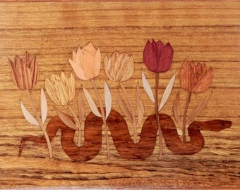 Mahogany Snake and Flowers Marquetry Wood Inlay Hinged Box OOAK