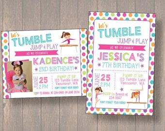 Girls Gymnastic Birthday Invitations - Girl Tumble Birthday Party Invitations - Birthday Invitation