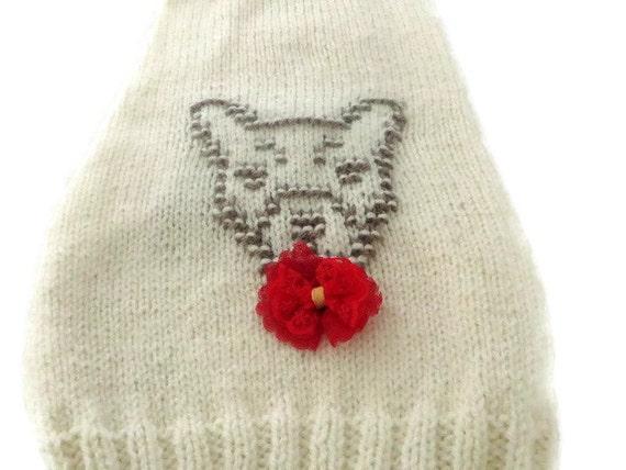 Knitting Patterns For Bulldog Sweaters : Medium size Dog Sweater French bulldog size coat Hand