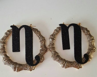 Initial Bamboo Hoop Earrings