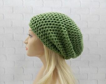 Sage Green Crochet Hat, Slouchy Hat, Oversized Hat, Crochet Beanie, Slouchy Beanie, Vegan Slouchy Hat, Womens Hat, Slouch Hat, Winter Hat