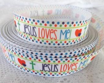Jesus loves me ribbon 7/8 Jesus ribbon religious ribbon love jesus