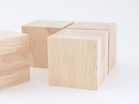 Big wooden cubes diy crafts natural material set of 4 for Large wooden blocks for crafts