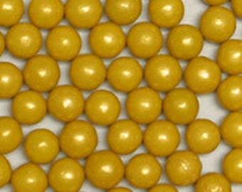 Gold Pearl Candy Beads Edible Cupcake Decorations (2 ounces)