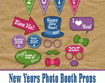 New Years Eve Party Photo Booth Props 2017 - Printable Decorations and Banner - Over 35 Images - Digital Download - INSTaNT DOWNLoAd