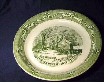 Currier and Ives Pie Plate Baking Dish Vintage Green White The Old Homestead in Winter