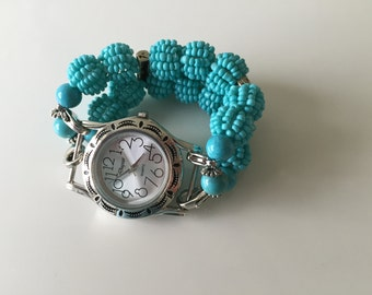 Watch Womens Double Stranded Turquoise Beaded Watch Band Set (269)