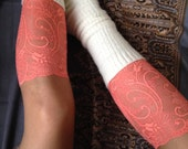 Lace Boot Cuff Socks, Coral lace - boot topper - wellies boot cuff, lace leg warmers / READY TO SHIP