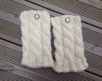 READY TO SHIP Boot Cuffs Ivory Knit Boot Cuffs Leg Warmers Boot Toppers Knit Boot Socks