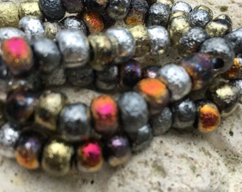 Full metal etched 32/0 czech beads, large round mixed etched metallic beads.