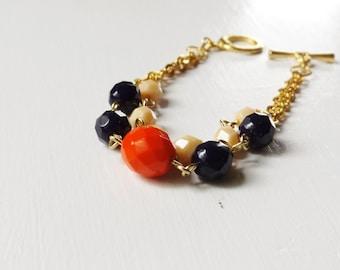 Color block bracelet, beaded bracelet, nautical inspired bracelet, double strand bracelet