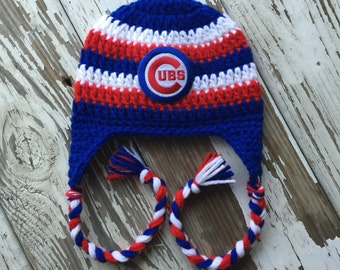 Chicago Cubs Inspired Crochet Earflap Hat / Baseball Hat / Toddler Hat / Sitter Session / Sizes Newborn - 5 Years **MADE TO ORDER**