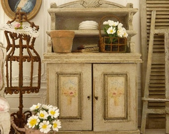 Miniature Shabby Dresser in wood, Style 1900, Gustavian gray, Country Kitchen, Furniture in wood for a miniature dollhouse in 1:12th scale
