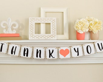 Thank You Sign, Wedding Banner, Thank You Banner, Wedding Decoration, Thank You Photo Prop, Wedding Signs, Coral Wedding Decor, B240