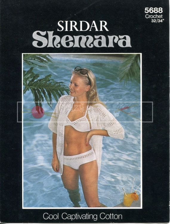 "Lady's Bikini and Cover Up 3ply 32-34"" Sirdar 5688 Crochet Pattern PDF instant download"