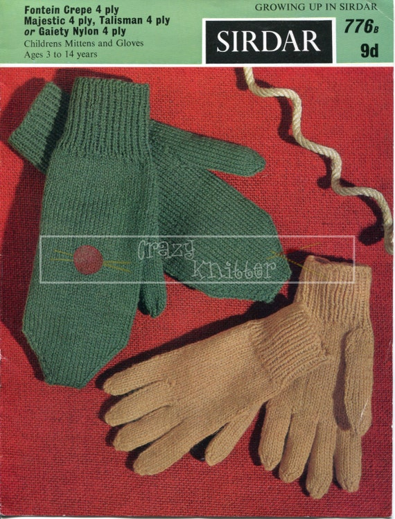 Children's Gloves and Mitts 6-11 years DK Sirdar 776 Vintage Knitting Pattern PDF instant download