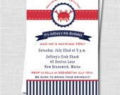 Preppy Crab Birthday Invitation - Crab Themed Birthday Party - Digital Design or Printed Invitations - FREE SHIPPING