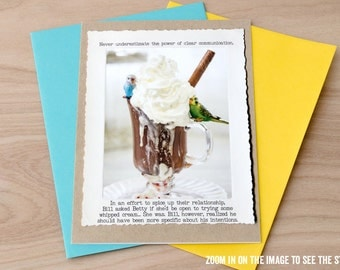 Funny Budgie Greeting Card • Blank Inside Card • Parakeet Greeting Card •Humor Gifts • Miniature Animal Card • Adult Humor • Couples Card