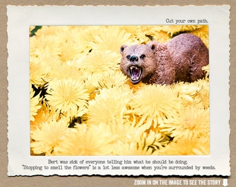 8x10 Bear Dandelions Funny Art Print • Humorous Print • Demotivational Art •  Office Decor • Gifts Under 20 • Woodland Animal Print