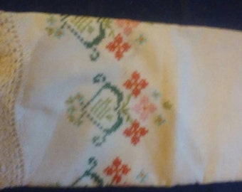 Vintage hand made embroidered pillowcase
