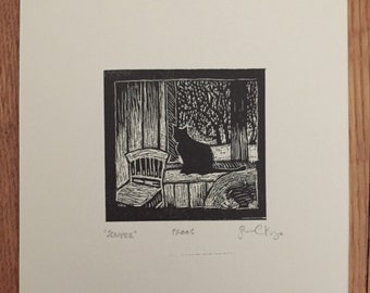 Cat in Winter Original Wood Engraving Print