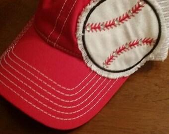 Red baseball trucker