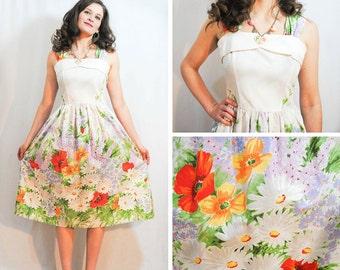 Floral Dresses - white floral dress, colorful floral dress, garden party dress, party dress, vintage floral dress.