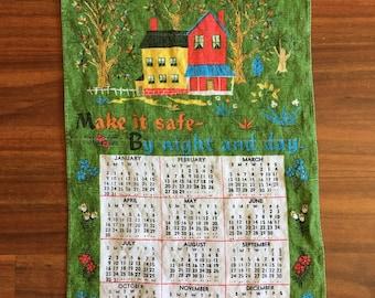 1972 Religious Bless This House Calendar Dish Towel// Vintage Kitchen Decor