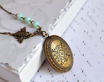 Bee locket necklace in antique bronze with Moroccan carvings and blue crystals Prom Botanical jewelry christmas gift for her nature lover