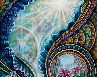 The Portal Series: Electric Forest - paper poster by Morgan Mandala and Randal Roberts - Psychedelic Visionary Art Print