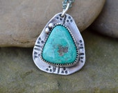 Sterling Old Nevada Mined Turquoise Necklace. Navajo Stamp . Old Turquoise . Rustic . Earthy . Boho .