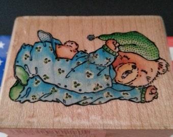 Bedtime Bear A781D Wood Mount Rubber Stamp Stampede Rubber