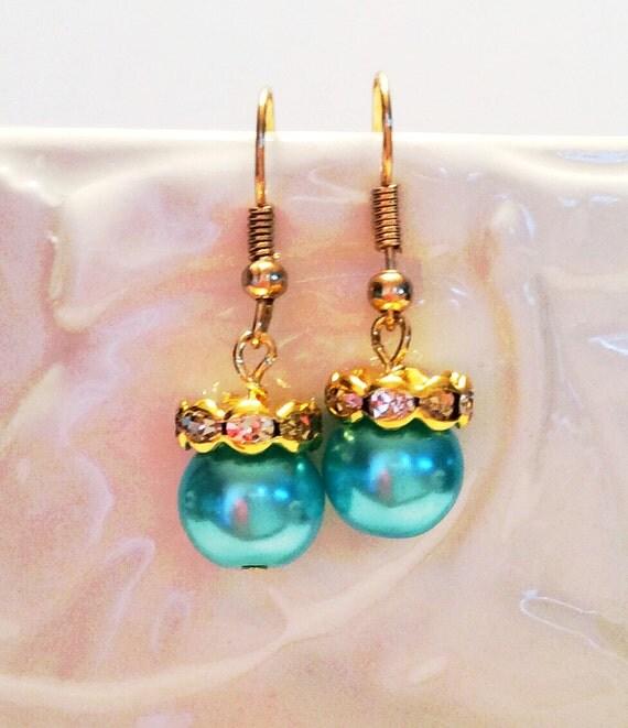 SWAROVSKI CRYSTAL PEARL Earrings Turquoise