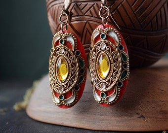Red boho earrings, ethnic jewelry, oval indian earrings, indian jewelry, hippie earrings