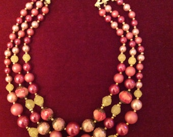 Vintage 1950's 3 stranded necklace