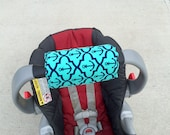 Car Seat ARM PAD Handle Cushion-REVERSIBLE- Cute Turquoise Navy Blue Anchors