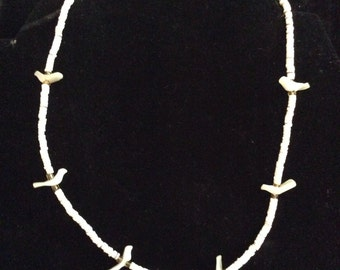 Beaded shell necklace 15 in