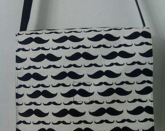 Mustache Inspired Shoulder / Messenger  /Cross Body Bag