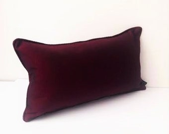"""Silk Burgundy Throw Pillow, Small Pillow 16"""" by 10"""", FREE SHIPPING"""