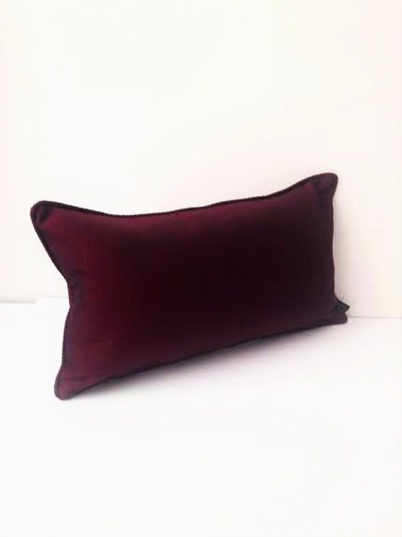 Silk Burgundy Throw Pillow Small Pillow 16 by 10